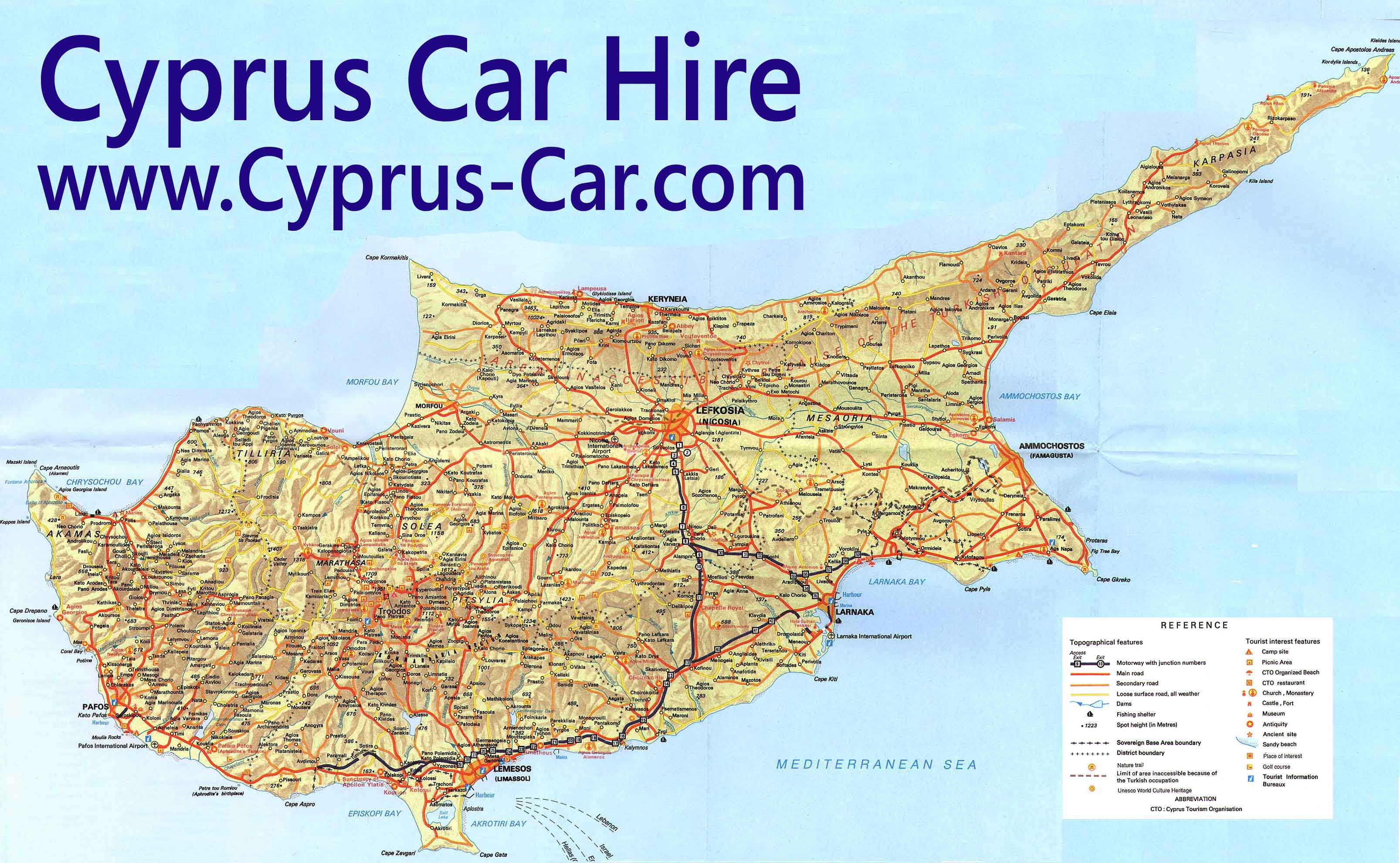Cyprus Road Map Car Hire in Cyprus